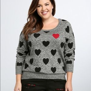 Torrid • Heart Print Long Sleeve Pullover Sweater